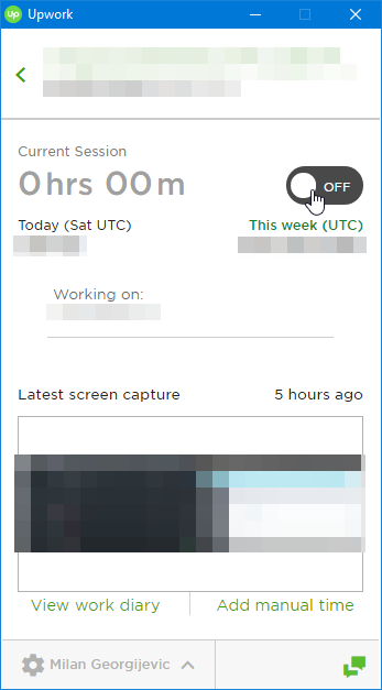Time tracking software timer trigger button