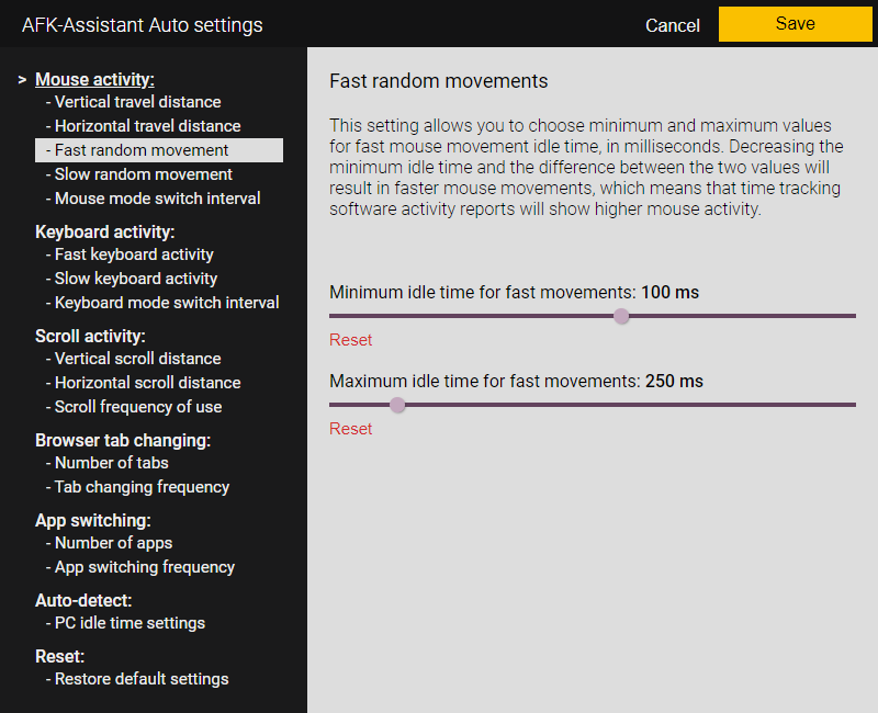 AFK-Assistant Auto - Mouse movement fast random movements settings