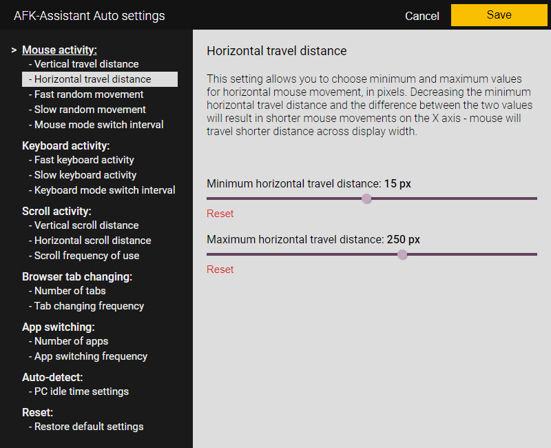 AFK-Assistant Auto - Mouse movement horizontal travel distance settings