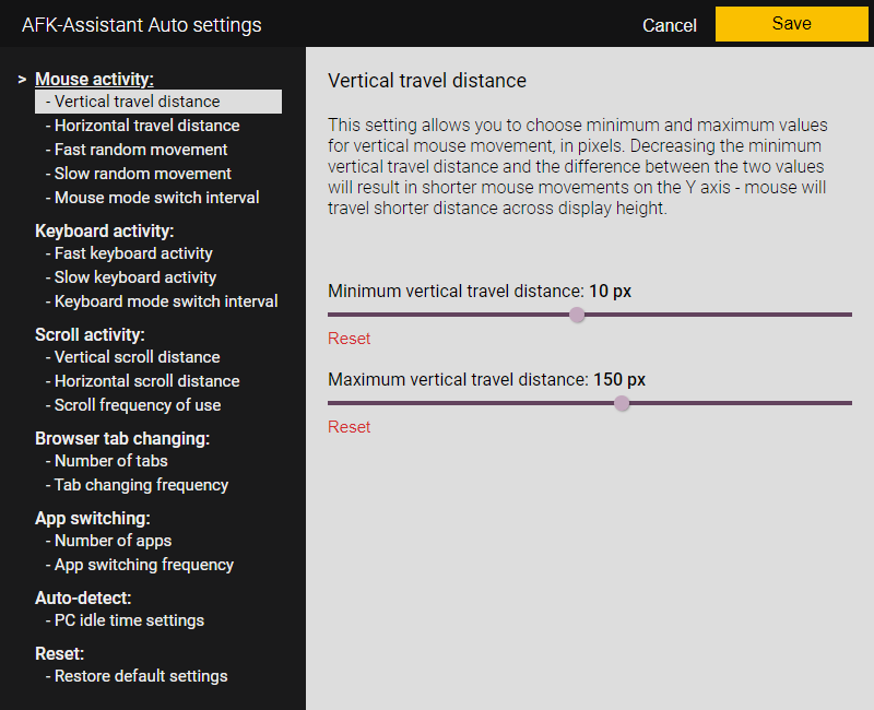 AFK-Assistant Auto - Mouse movement vertical travel distance settings